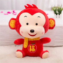 1pcs 30cm New Style Chinese Symbol Good Luck Traditional Little Monkey Red Plush Toys Baby Cloth Doll New Year Gift Cute