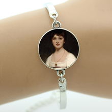 TAFREE Brand vintage Jane Austen Portrait bracelet retro elegant beauty lady charms We're All Mad Here Alice women jewelry NS409(China)