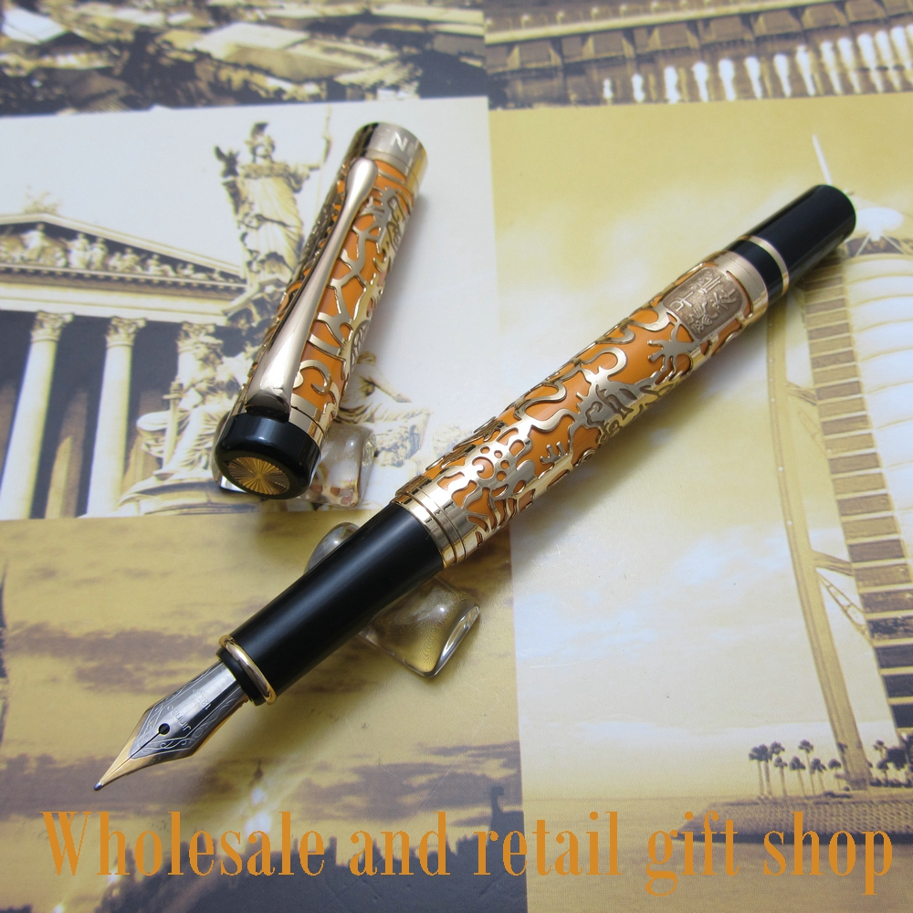 Free shipping 0.7MM perfect Kim Ho celluloid pen engraved of Orange and gold fountain Pen<br>