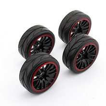 Free Shipping New 4PCS Rubber RC Racing Tires Car On Road Wheel Rim Fit For HSP HPI 9068-6081 1/10 ZHD