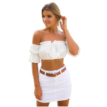 Summer Beach Women Crop Top Short Puff Sleeve Tshirt Sexy Bare Midriff Off Shoulder Solid T-shirt Lace Up Slash Neck T Shirt(China)