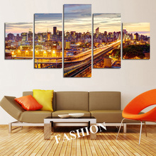 5 Set Modern Paris City Building Canvas Painting Wall Art Pictures Night View Home Decor For Living Room Cuadros Decoration