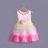 2017 Wholesaler  elegant flowers sequined bow celebrity princess dress 2017 new child mesh wedding vestidos kids party clothing