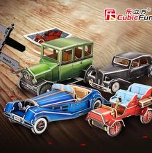 Cubicfun 3D paper model DIY toy birthday gift puzzle citroen traction avant benz 500k cadillas B Ford T Vintage car