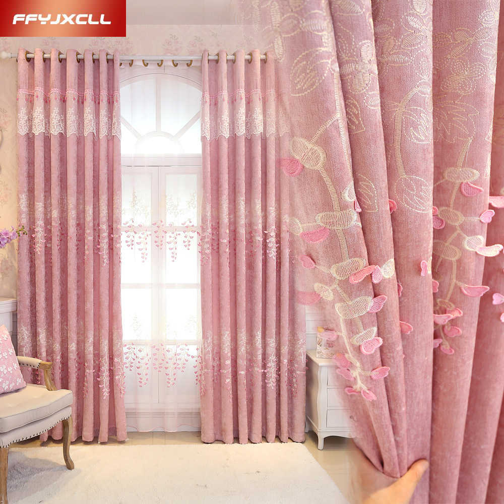 Pink Europe Luxury Embroidered Blackout Curtains for the Bedroom Floral Tulle Curtains for Living Room Window Treatment Drapes