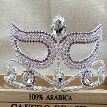 3.5inch big pageant mask festival/ event costume hair decoration Tiara band Crown silver purple color Bridal crystal tiara