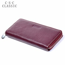 Long Wallet Womens Wine Red Real Genuine Leather Zipper Wallets Women Clutche Female Ladies Purse Coins Phone Card Holder bag(China)