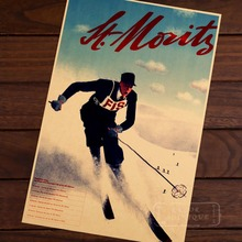 Ski in Austria Moritz Skiing Game Map Classic Vintage Retro Kraft Decorative Poster Maps Travel Posters Wall Sticker Decor Gift