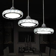 Ring LED modern minimalist European round pendant lamp three creative head table lamp crystal restaurant dining