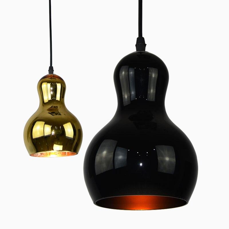Modern Plated Glass Black/Gold Pendant Lights Loft Hanging Foyer Restaurant Lustre E27 Edison Bulb Pendant Lamp Fixture<br>