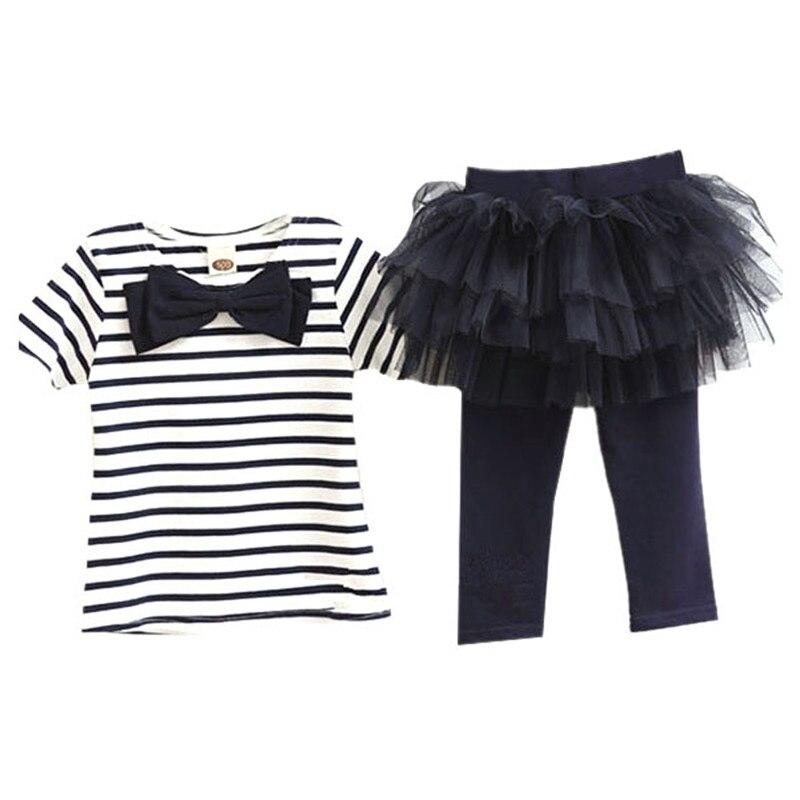 2pcs Kid Girl Sets Stripe Bow Top T-shirt  Tutu Skirt Leggings Culottes<br><br>Aliexpress