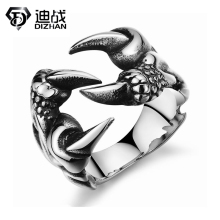 Vintage Stainless Steel Dragon Claw Opening Rings Fashion Personality Finger Ring for Men dragon claw Rings Jewelry Accessories(China)