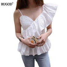RUGOD 2017 Women's Novelty Summer Solid Off Shoulder Shirts Butterfly Sleeve in Irregular Blouse Compression V-neck Shirts