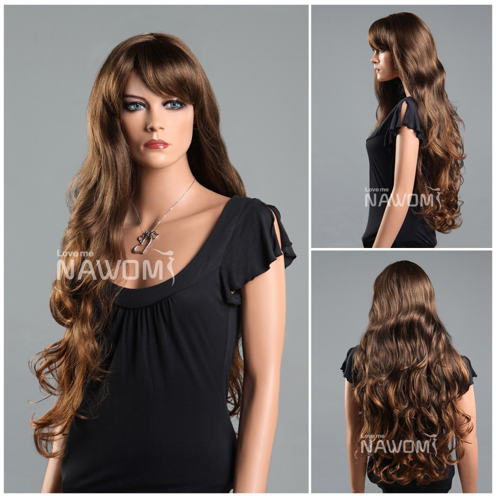 Wig Making Lace Caps, Kinky Long Brown Hair Wigs For Women ,Weaves Wigs with Bangs<br><br>Aliexpress