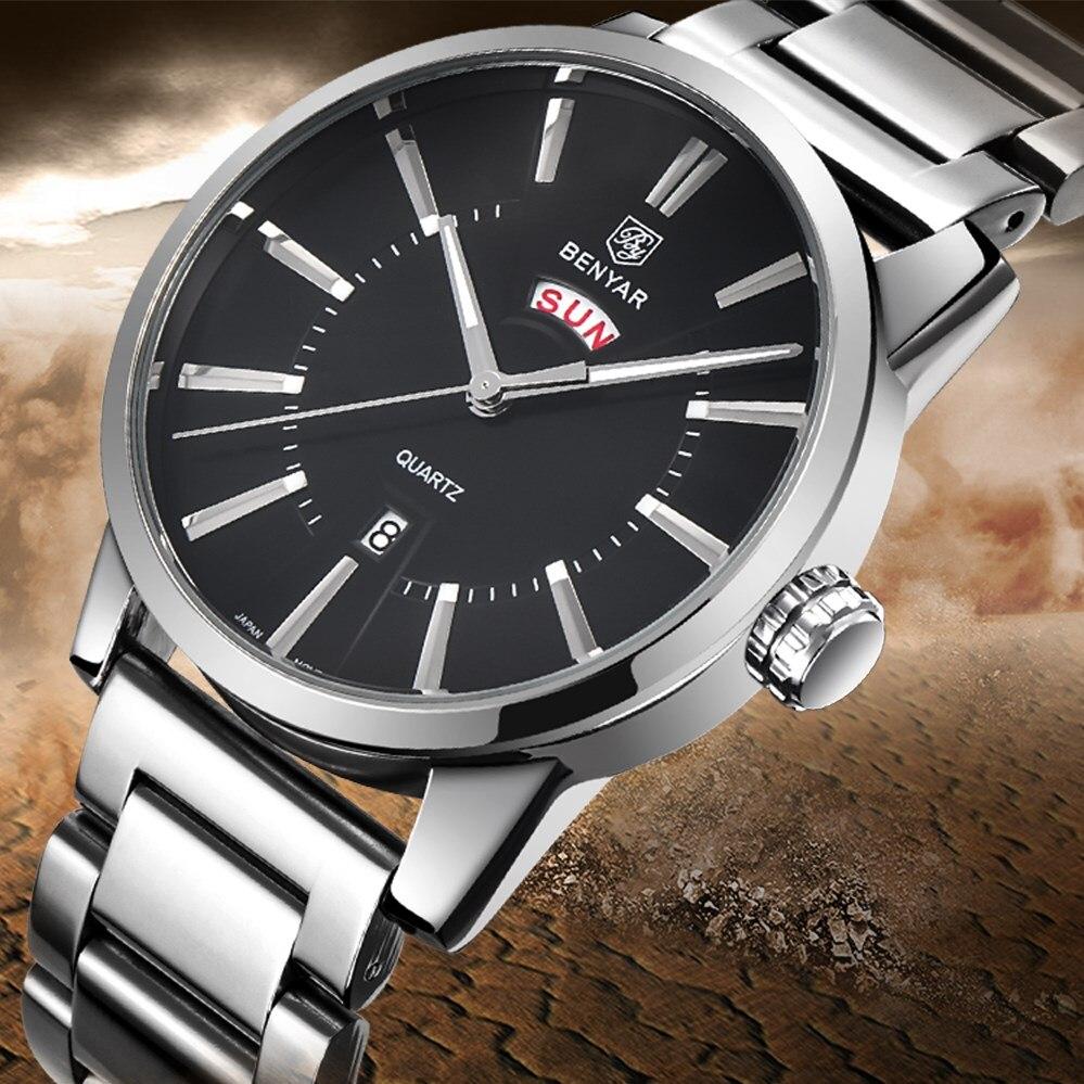 BENYAR Mens Luxury Brand Business Watches Men Waterproof Stainless Steel Fashion Casual Quartz Watch Clock Relogio Masculino<br>