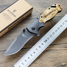 Retro Tactical Folding Knife Titanium coating Steel Blade Wood Handle Survival Outdoor Pocket Knives Huntting Fishing EDC Tool