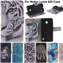 N630 Fashion Design Printing Luxury Leather Cell Phone Case Flip Cover For Nokia Lumia 630 635 N630 N635 With Card Slots Stand