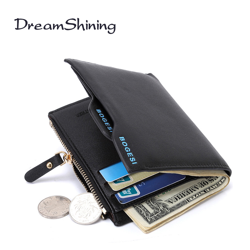 DreamShining New Fashion Short Style Men Leather Wallets  Business Card Wallet Man Clutch Zipper Coin Purse Money Bag ID Holder<br><br>Aliexpress