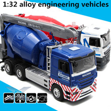 1:32 alloy engineering vehicles,high simulation cement mixer model,metal diecasts,toy vehicles,flashing & musical,free shipping