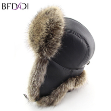 BFDADI 2017 Winter Faux Fur Hats Casual Men Windproof Warm Bomber Hats Motorcycle Flight Ear Protection Artificial Leather Cap