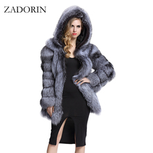ZADORIN Elegant Long Faux Fur Coat fluffy Jacket 2017 Winter Women Thick Warm Faux Fur Coats With Hooded White Black Plus Size(China)