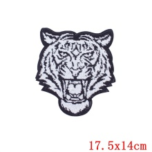 Prajna Hot Sale Patch Large Sequin Tiger Patch Sequin Patches Iron On Applique For Clothes Stripes Embroidery Biker Badges D(China)