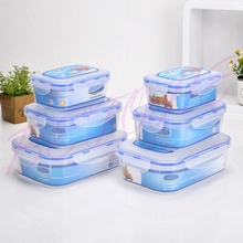 BETOHE 6pcs/set food grade organizer for food plastic food storage box vacuum lunch box kitchen boxes for food