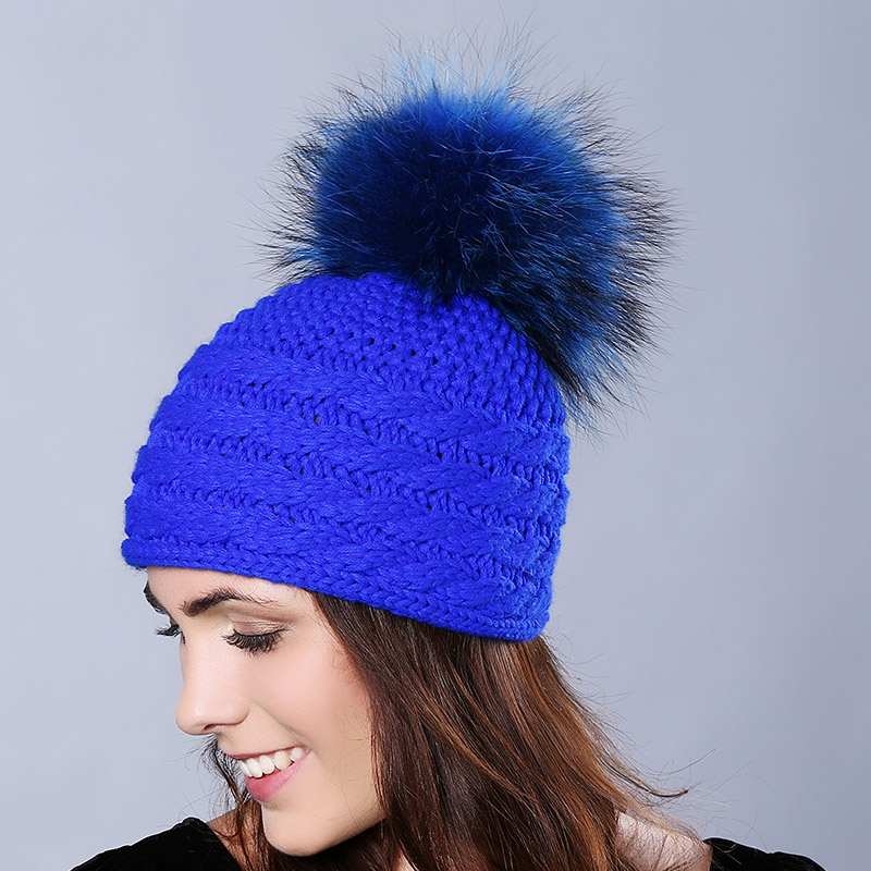 Autumn Winter Wool Hats Knitted  Unisex Skullies Casual Cap Multicolor Fox Fur Ball Pompoms Solid Color Ski Cap Gorros CP18T29Одежда и ак�е��уары<br><br><br>Aliexpress