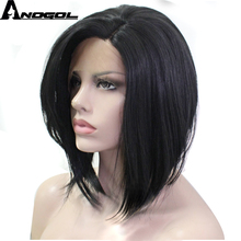 Anogol Handmade Synthetic Lace Front Wig Short Straight Bob Glueless High Temperature Heat Resistant Fiber Hair Wigs For Women(China)