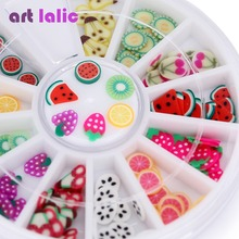 Nail Art 3D Polymer Clay Tiny Fimo Fruit slices Wheel Nail Art DIY Designs Wheel Nail Art Decorations Wholesale(China)