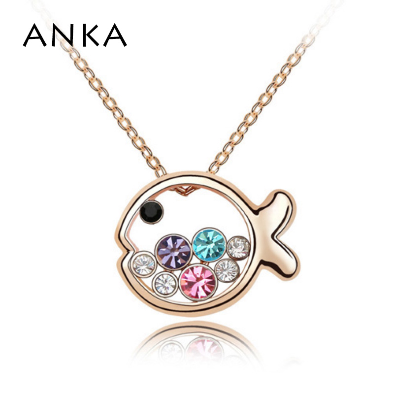 Free Shipping Rose Gold Color Jewelry Fashion Crystal Animal Pendant Mix Colorful Fish Princess Necklace High Quality #87629(China)
