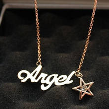 Rose gold color 316l stainless steel angel necklaces & pendants, fashion crystal star pendant neckless bisuteria fine jewelry