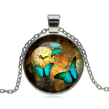Beautiful Butterfly Glass Cabochon Pendant Necklace Steampunk Clock Art Picture Vintage Bronze Chain Necklace for Women Jewelry(China)