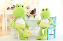 big creative new lovely plush frogs toy soft cute frog doll with bow bitthday gift about 100cm green