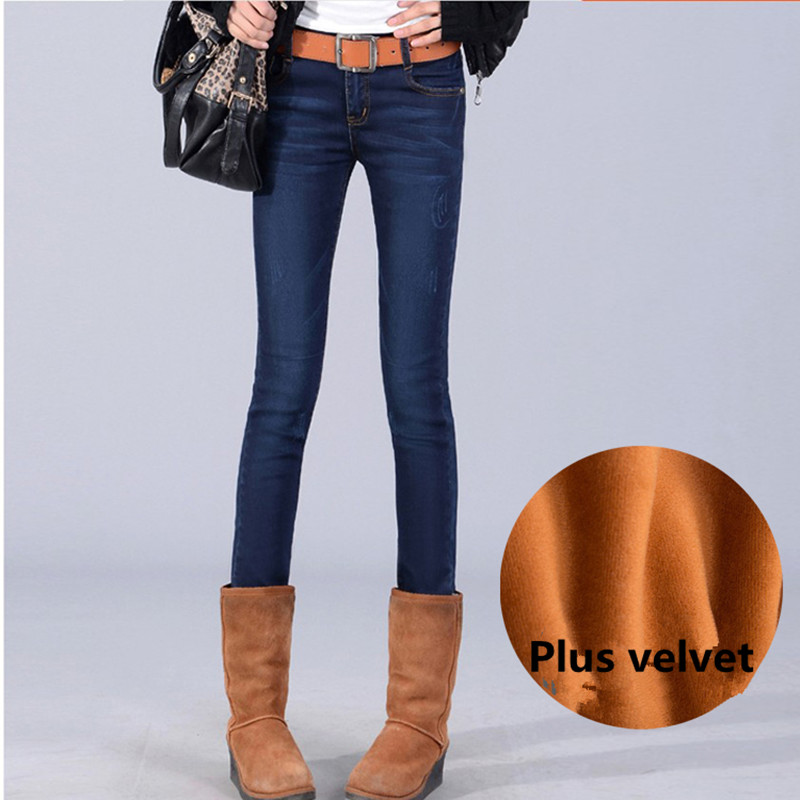Plus Size XL-5XL Cowboy Jeans Pants Women Casual Plus Thick Velvet Womens Clothing Pants Trousers Winter Demin Jeans C1557Одежда и ак�е��уары<br><br><br>Aliexpress