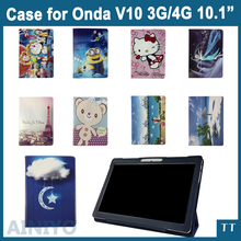 For Onda V10 4g case Fashion 3 fold Folio PU leather stand cover case for Onda V10 3G/4G 10.1inch tablet pc + 3 gifts(China)