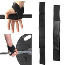 1pair Weight Lifting Elasticity Sponge Padded Training Wrist Straps Black Hand Wrist Support Wrap