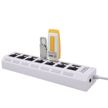 7 Ports LED USB 2.0 Adapter Hub Power on/off Switch Usb Cable computer accessories usb hub with power adapter(China)