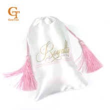 custom logo shop name Virgin hair bundle extension packaging bags, Customized Luxuary tassel silk satin bags for hair packaging(China)