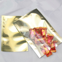 1500Pcs/Lot 8x12cm Flat Gold Clear Heat Seal Aluminum Foil Bag Food Storage Packaging Aluminizing Vacuum Pouches Mylar Open Top
