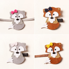 Sweet Felt Fox Hair Clips Woodland Party Kid Girl Stretch Headbands Brown and Grey Animal Barrette Glitter Ear Newborn Band