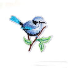 Hot sale 1PC colorful blue bird Iron On Embroidered Patch For Cloth Cartoon Badge Garment Appliques DIY Accessory