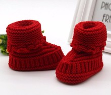 MUQGEW Toddler Newborn Baby Solid Woolen Knitting Lace Crochet Shoes Buckle Handcraft Shoes Baby Shoes Tenis Infantil W06