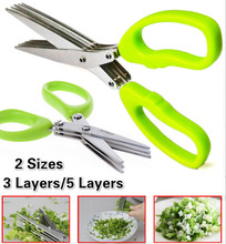 3 or 5 Layers Multi-functional Stainless Steel Kitchen Knives Scissors Sushi Shredded Scallion Cut Herb Spices Scissors GYH