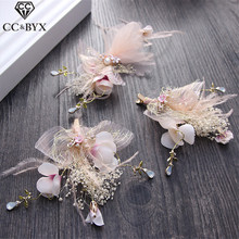 CC Hair Pins Hairgrips 3pcs Set Fairy Handmade Hairpins Flowers Wedding Decorations Hair Accessories For Bridal Jewelry TS226(China)