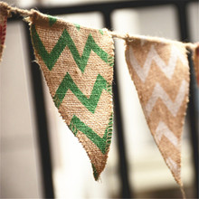 Printing Wave Pattern Natural Burlap Pennant Banner Colorful Printing pattern Jute Bunting Flags Decoration Event Party Supplies