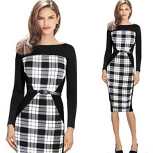 Buy Oxiuly Womens Elegant Optical Illusion Patchwork Contrast Slim Casual Work Office Business Party Bodycon Pencil Dress for $10.00 in AliExpress store