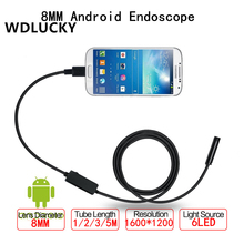 WDLUCKY USB Endoscope Android Mobile Endoscope 8MM 2MP 1/2/3/5M Snake Camera Waterproof Inspection Borescope for Laptop With OTG
