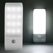 PIR Infrared Motion Sensor USB Rechargeable 12 LED Nightlight Light Induction Corridor Closet Wardrobe Night Lamp SMD 5730(China)