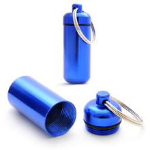 Portable Pill Case For Outdoor Emergency First Aid Medicine Container Bottle Waterproof Aluminum Capsule Drugs Holder Key Ring(China)